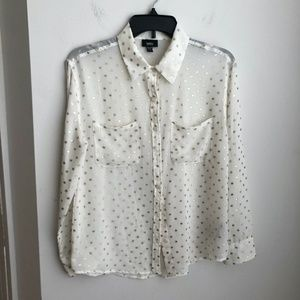 Mossimmo Cream Blouse with Gold Sheer Sleeves XS